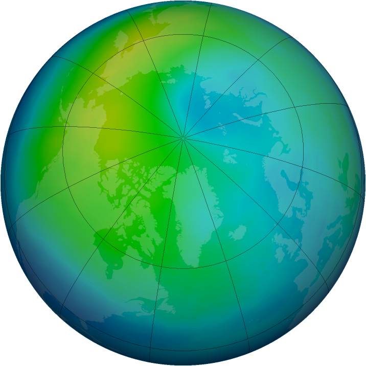 Arctic ozone map for November 1994