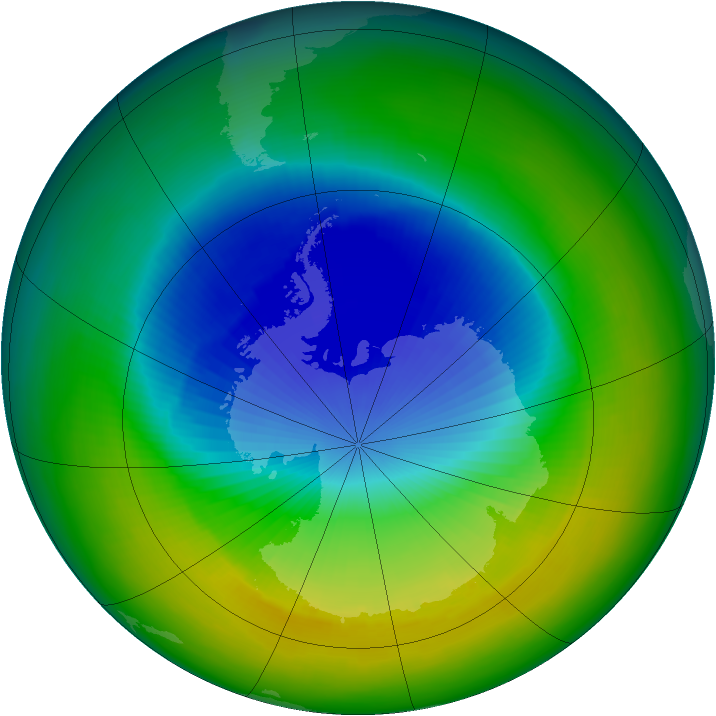 Antarctic ozone map for November 1994