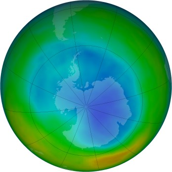 Antarctic ozone map for 1996-07