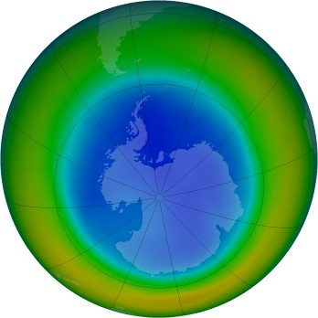 Antarctic ozone map for 1996-08