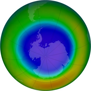 Antarctic ozone map for 1996-09