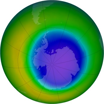 Antarctic ozone map for 1996-10
