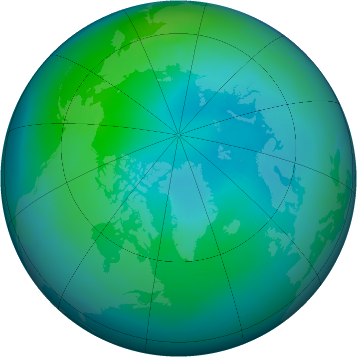 Arctic ozone map for October 1996