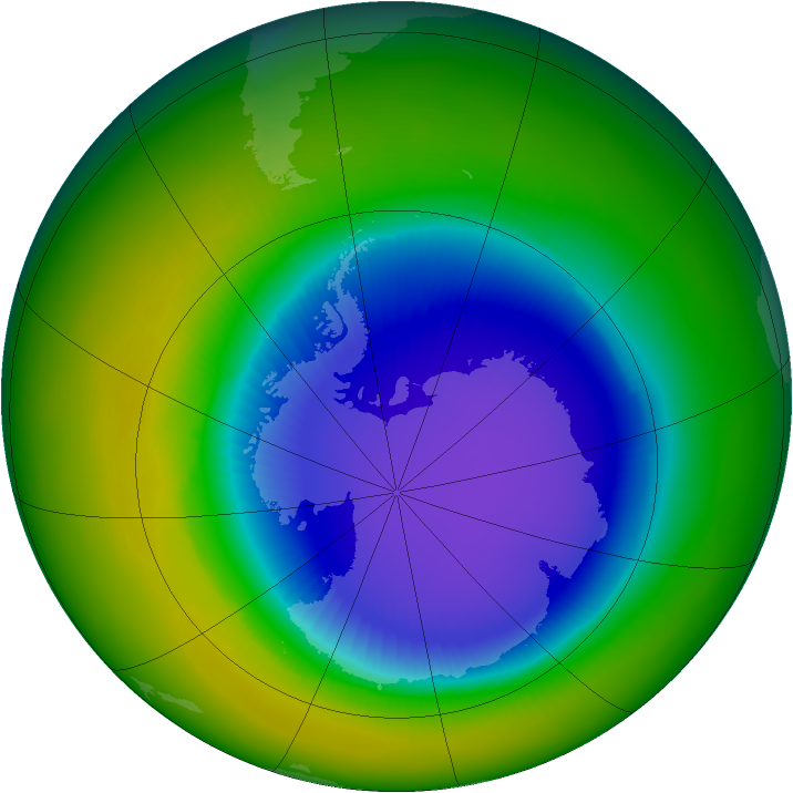 Ozone Hole Watch Southern Ozone Map For October 1996
