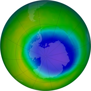 Antarctic ozone map for 1996-11