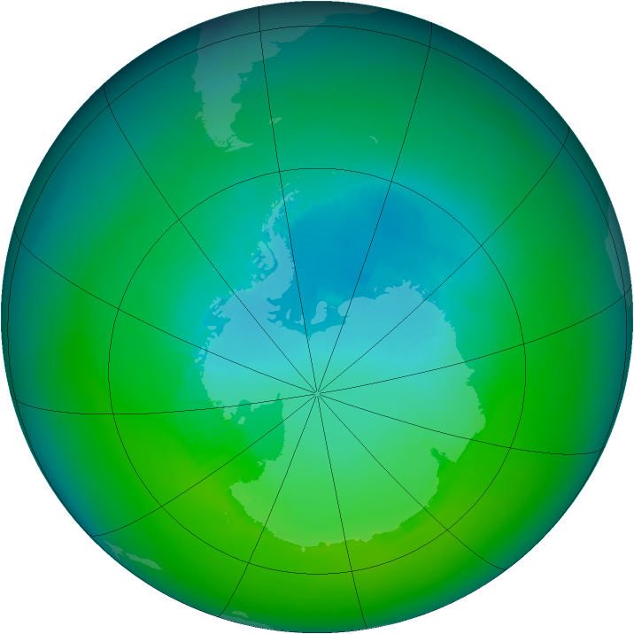 Antarctic ozone map for December 1996