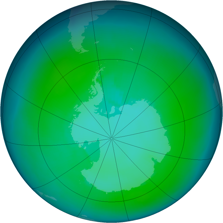Antarctic ozone map for January 1997