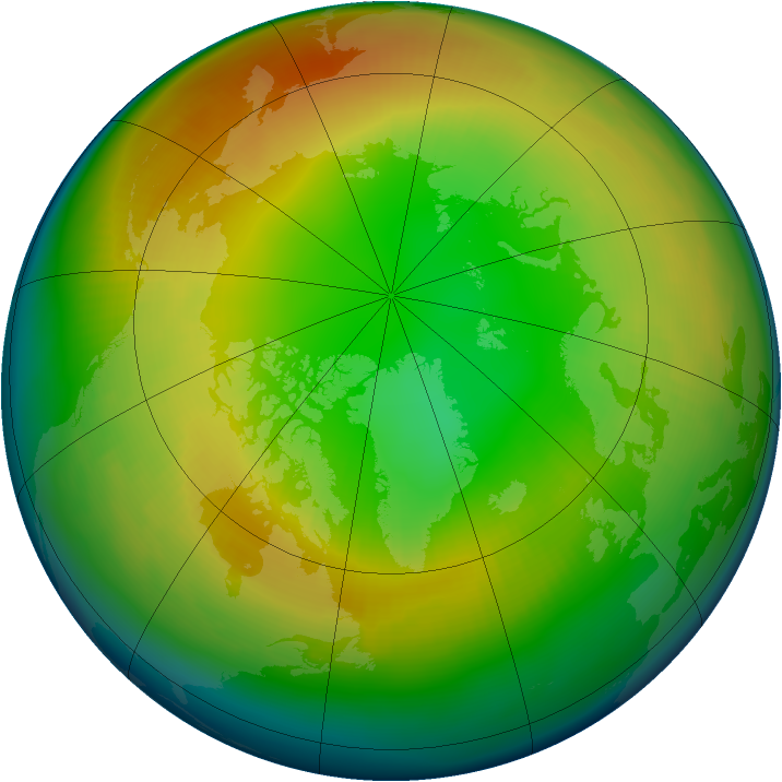 Arctic ozone map for February 1997