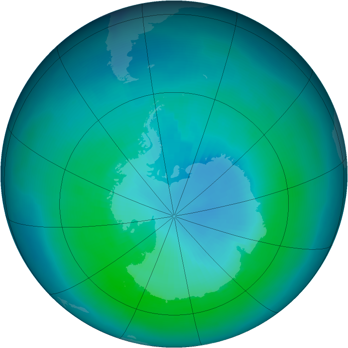 Antarctic ozone map for March 1997
