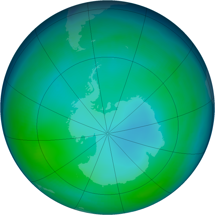 Antarctic ozone map for June 1997