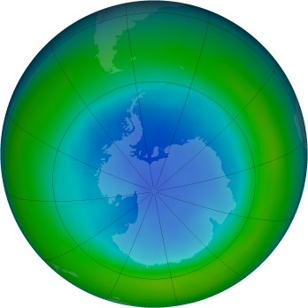 Antarctic ozone map for 1997-08