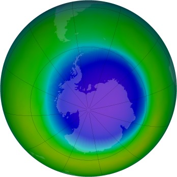 Antarctic ozone map for 1997-10