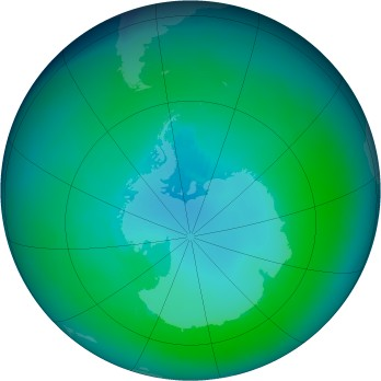 Antarctic ozone map for 1998-01