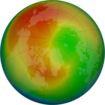 Arctic ozone map for 1998-02
