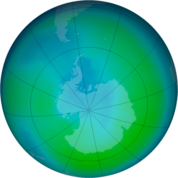 Antarctic ozone map for February 1998