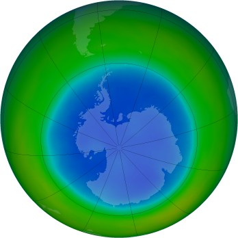Antarctic ozone map for 1998-08