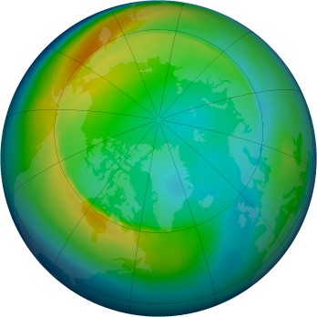 Arctic ozone map for 1998-12