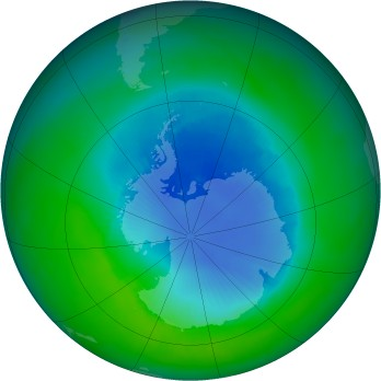 Antarctic ozone map for 1998-12