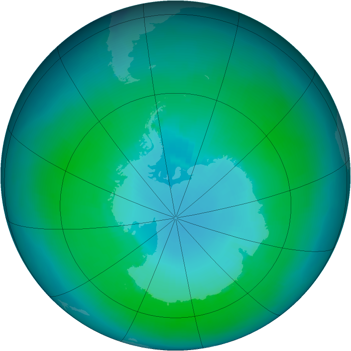 Antarctic ozone map for January 1999