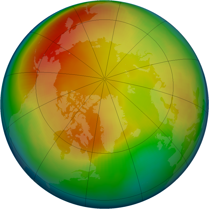 Arctic ozone map for February 1999