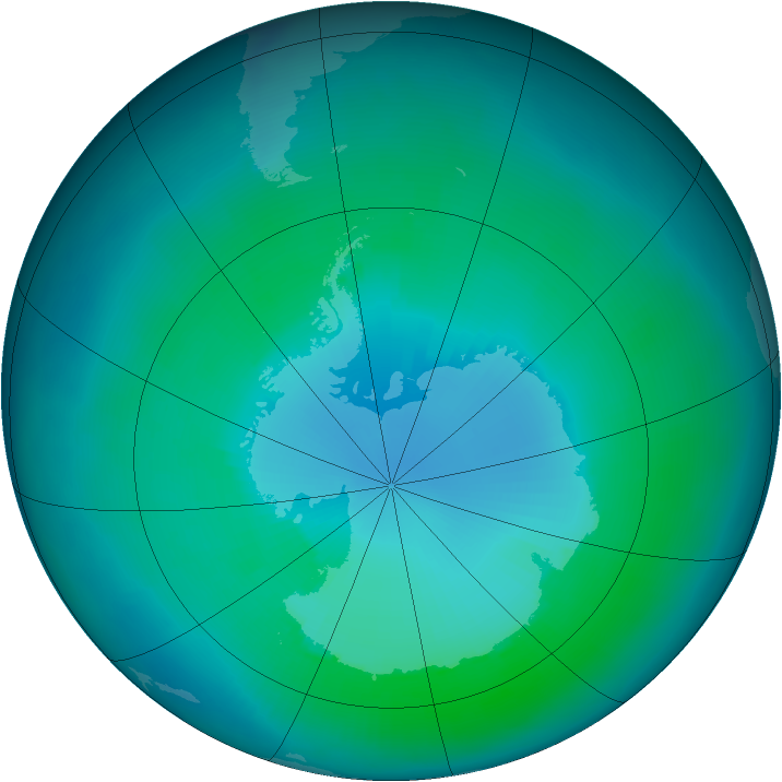 Antarctic ozone map for February 1999