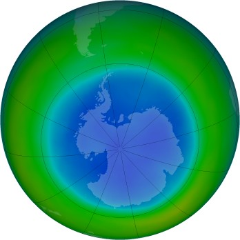 Antarctic ozone map for 1999-08