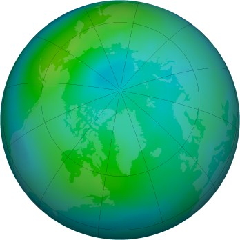 Arctic ozone map for 1999-10