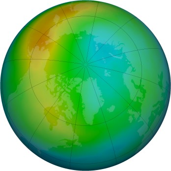 Arctic ozone map for 1999-12