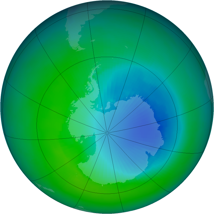 Antarctic ozone map for December 1999