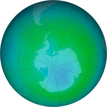 Antarctic ozone map for 2000-01