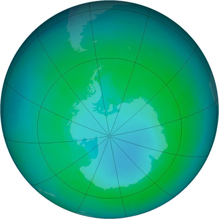 Antarctic ozone map for January 2000