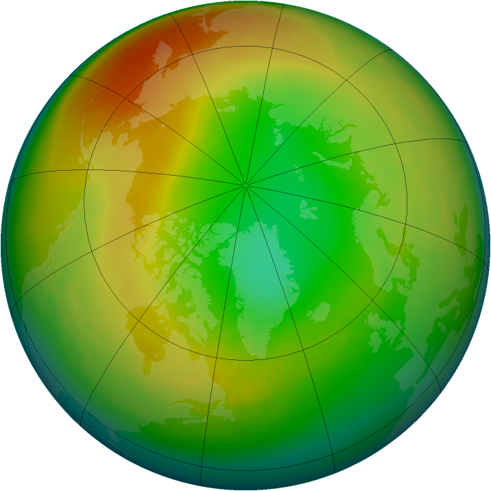 Arctic ozone map for February 2000