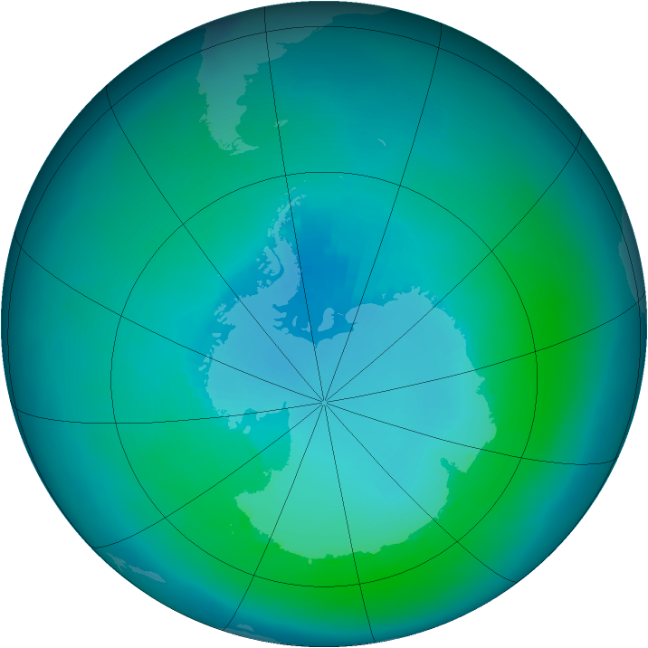 Antarctic ozone map for February 2000