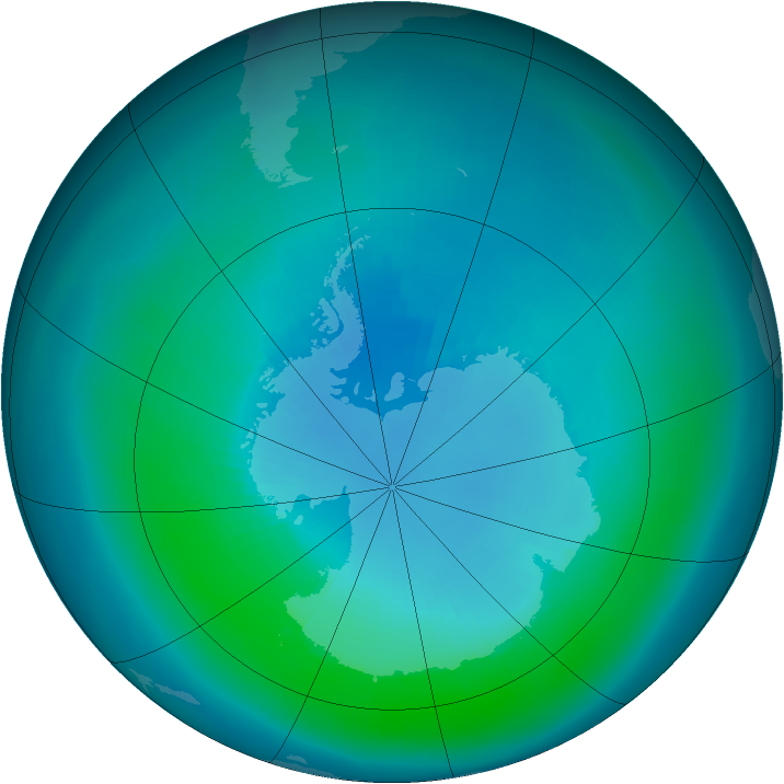 Antarctic ozone map for March 2000