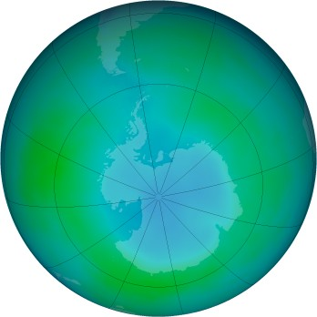 Antarctic ozone map for 2000-05