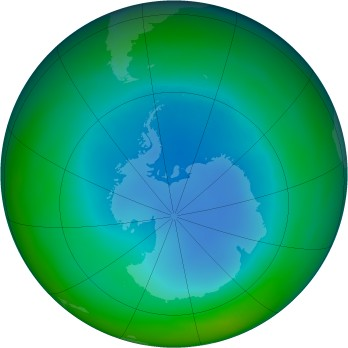 Antarctic ozone map for 2000-07
