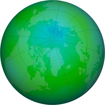 Arctic ozone map for 2000-08