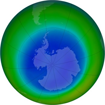 Antarctic ozone map for 2000-08