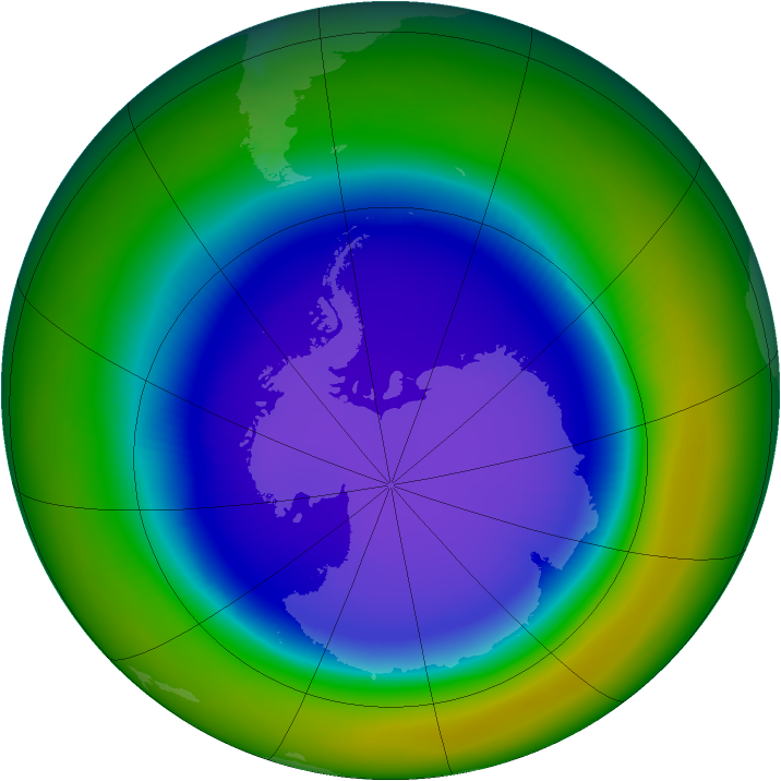 Antarctic ozone map for September 2000