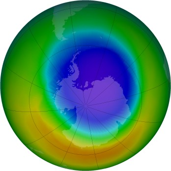 Antarctic ozone map for 2000-10