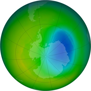 Antarctic ozone map for 2000-11