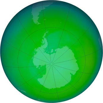 Antarctic ozone map for 2000-12