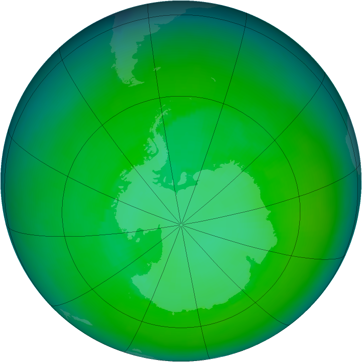 Antarctic ozone map for December 2000