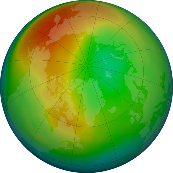 Arctic ozone map for 2001-01