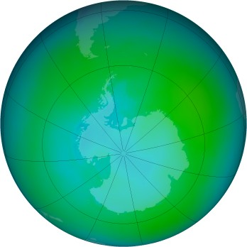 Antarctic ozone map for 2001-01