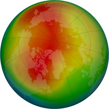 Arctic ozone map for 2001-02