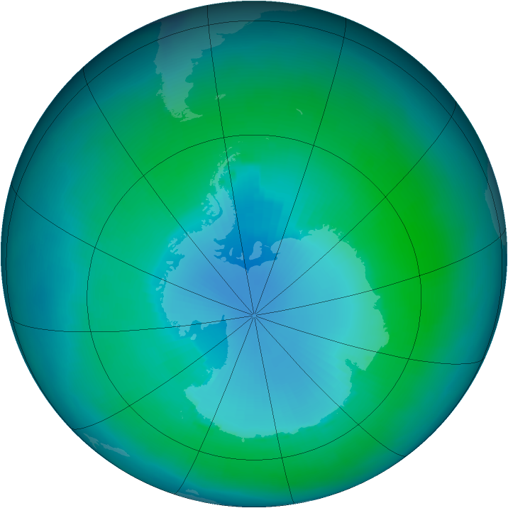 Antarctic ozone map for February 2001