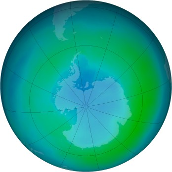 Antarctic ozone map for 2001-03