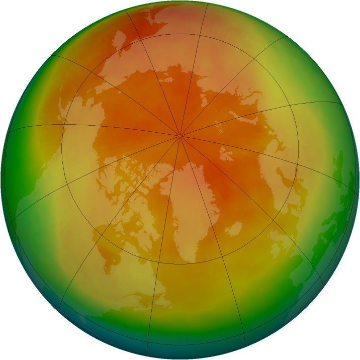 Arctic ozone map for March 2001