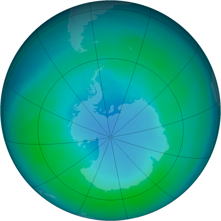 Antarctic ozone map for April 2001
